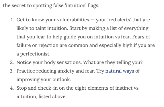 steps to dealing with fear vs intuition